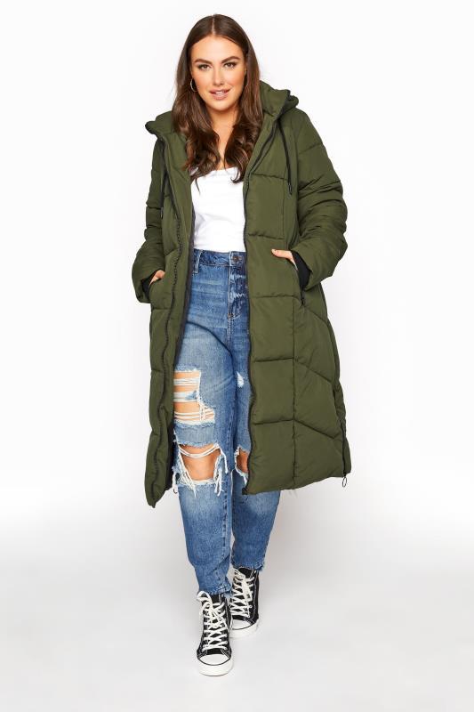 dla puszystych Khaki Longline Hooded Puffer Coat