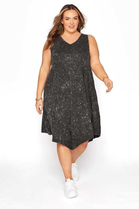 Grey Acid Wash Hanky Hem Sleeveless Dress