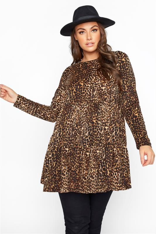 Plus Size  Brown Animal Print Tiered Tunic