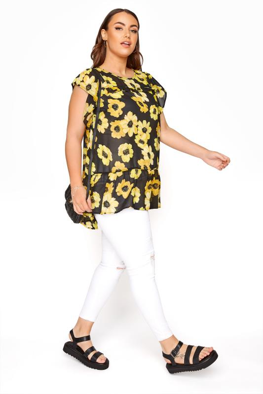 Black and Yellow Floral Frill Hem Tunic_B.jpg