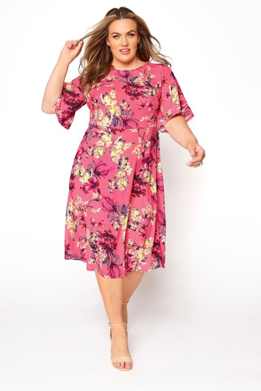 YOURS LONDON Pink Floral Oriental Dress_A.jpg