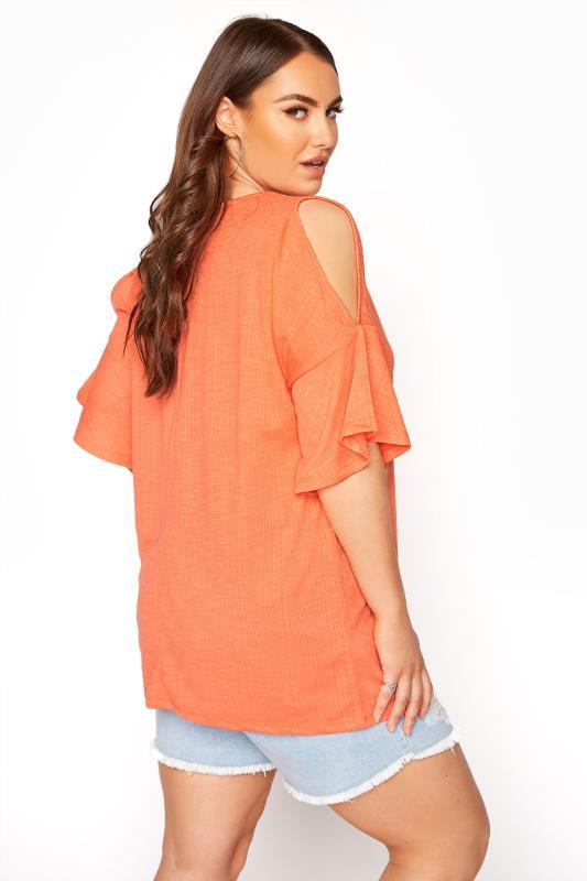 Bright Coral Cold Shoulder T-Shirt_C.jpg