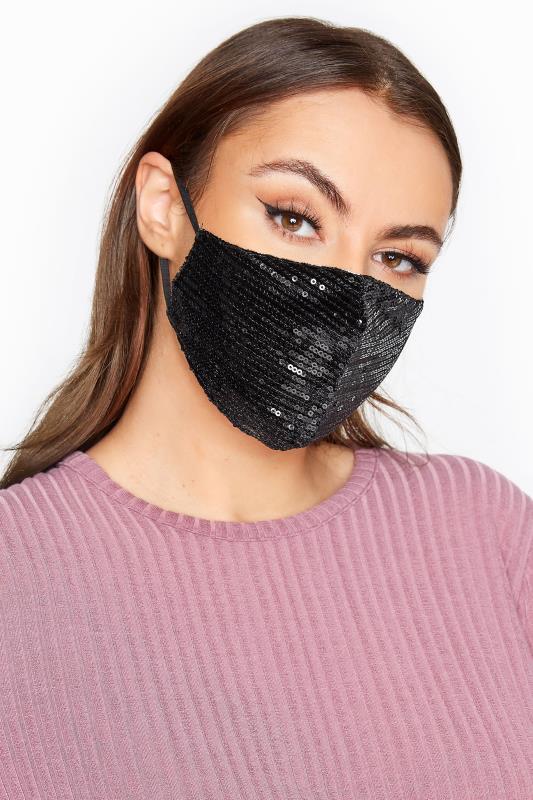 Plus Size  Black Sequin Face Mask