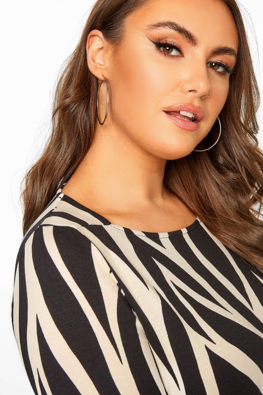 Black Zebra Print Jersey Swing Top