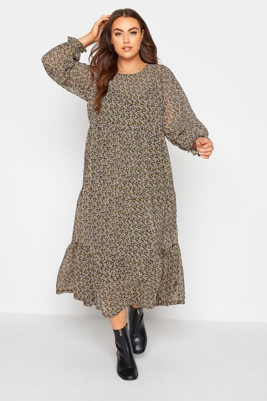 Plus Size  LIMITED COLLECTION Black Ditsy Smock Maxi Dress