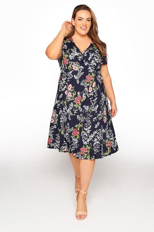 Plus Size  YOURS LONDON Navy Floral Wrap Dress