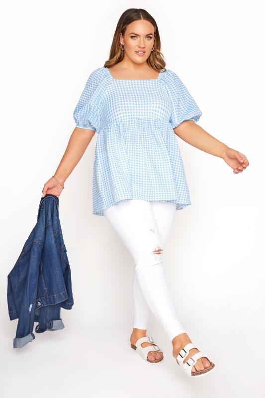 LIMITED COLLECTION Blue Gingham Milkmaid Top_B.jpg