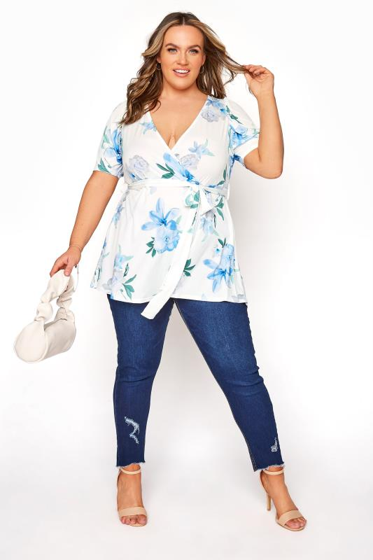 YOURS LONDON White Floral Puff Sleeve Wrap Top_B.jpg