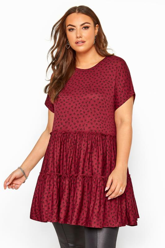 Plus Size Tunics Berry Ditsy Floral Peplum Smock Tunic