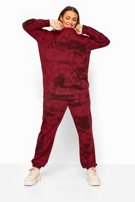 Plus Size Joggers LIMITED COLLECTION Wine Red Tie Dye Joggers