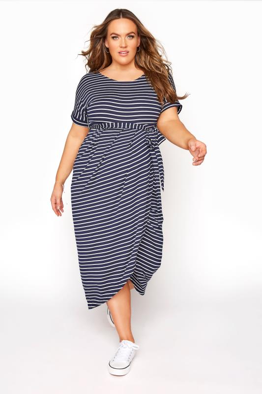 Plus Size  BUMP IT UP MATERNITY Navy & White Stripe Tie Waist Wrap Dress