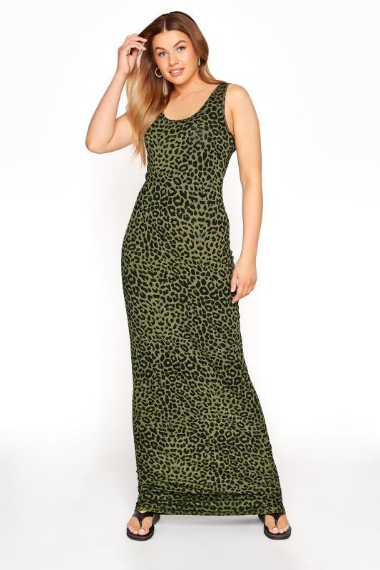 LTS Green Leopard Print Maxi Dress