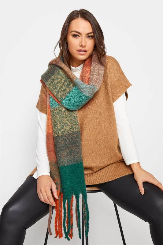Tall  Yours Orange Check Print Super Soft Scarf