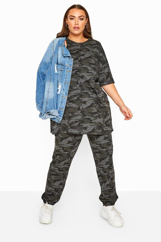 Plus Size Joggers LIMITED COLLECTION Grey Camo Jersey Joggers