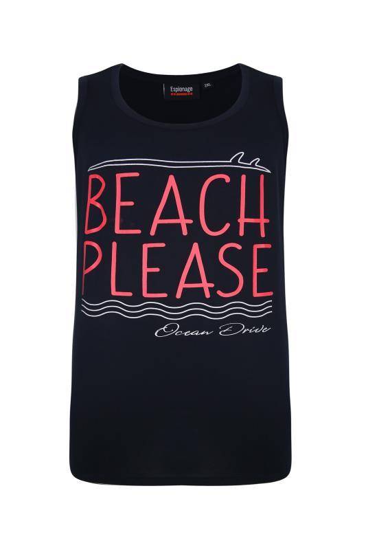 Plus Size  ESPIONAGE Navy Beach Please Cali Print Vest