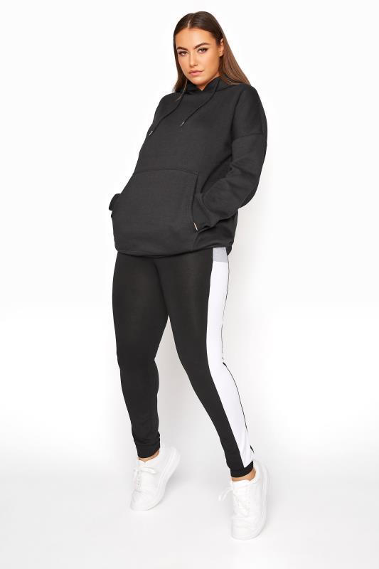 Black Contrast Colourblock Jogger Leggings