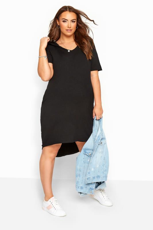 Plus-Größen Maternity Dresses BUMP IT UP MATERNITY Black Hooded Jersey Dress