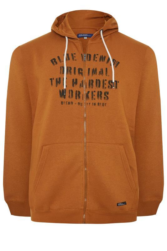 dla puszystych BLEND Orange Printed Zip Through Sweat Hoodie