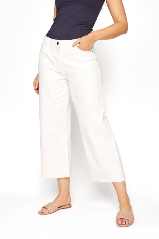 Ivory Wide Leg Cropped Jeans