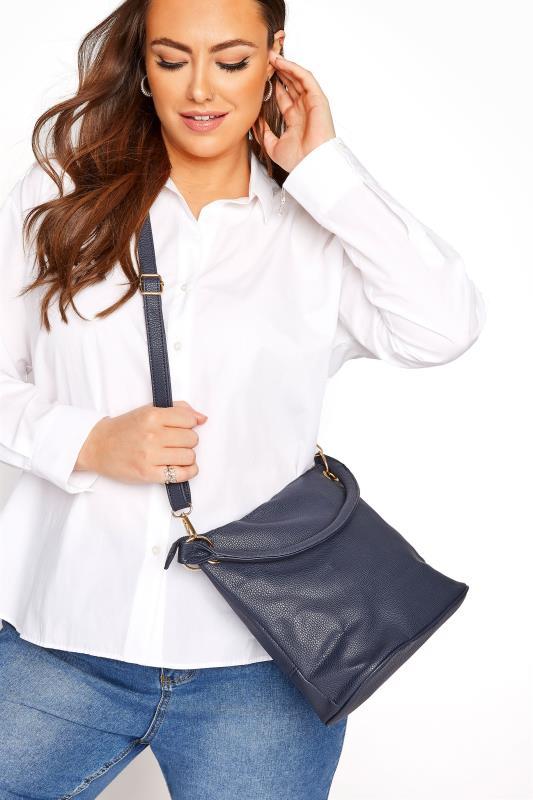Blue Dual Strap Zip Detail Shoulder Bag