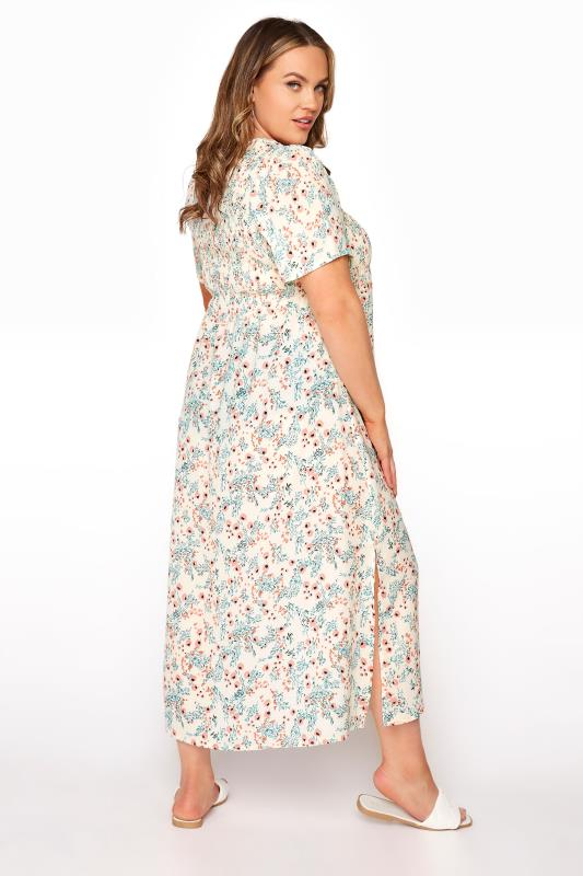 LIMITED COLLECTION White Floral Shirred Maxi Dress_C.jpg
