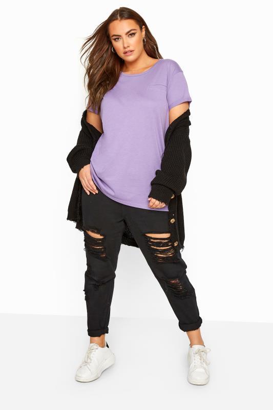 Purple Mock Pocket T-Shirt