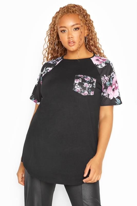 Plus Size  LIMITED COLLECTION Black Floral Pocket Raglan Sleeve Top