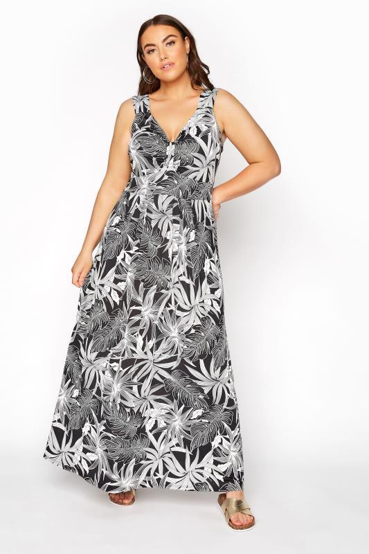 Plus Size  Black Tropical Bow Front Maxi Dress