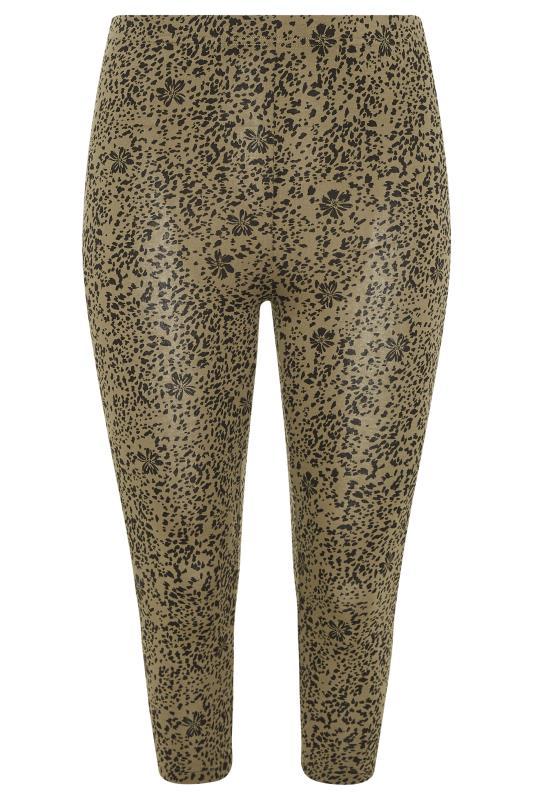 2 PACK Black & Khaki Floral Animal Print Cropped Leggings_F1.jpg