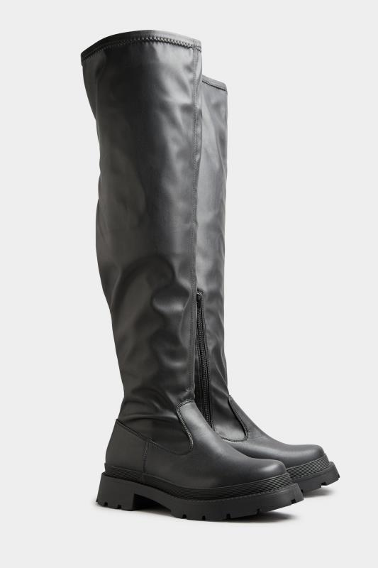 LIMITED COLLECTION Black Over The Knee Cleated Boots In Extra Wide Fit_B.jpg