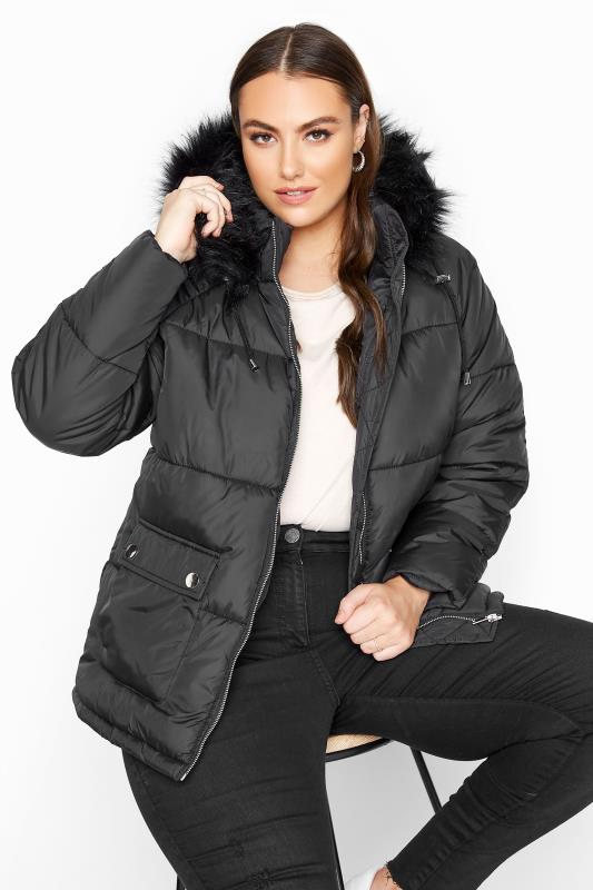 Plus Size  Black Cropped Padded Puffer Jacket