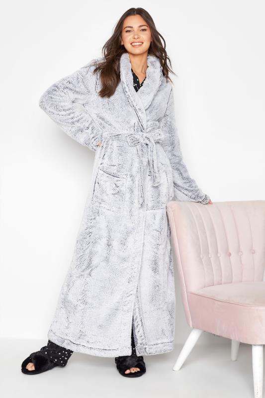 Tall  LTS Grey Soft Shawl Collar Dressing Gown
