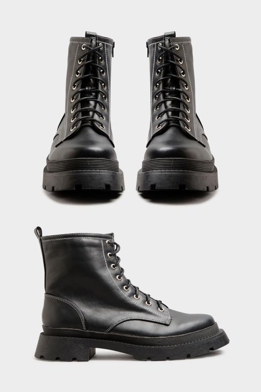 LIMITED COLLECTION Black Contrast Stitch Chunky Boots In Extra Wide Fit_A.jpg