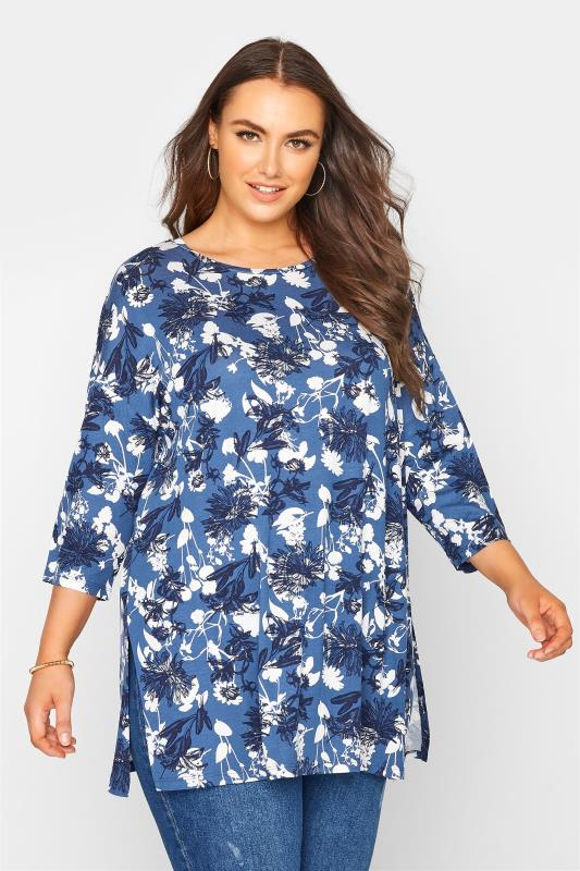 Plus Size  Blue Floral Split Hem Tunic