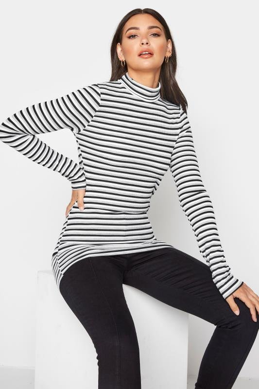 Tall  LTS Grey Stripe Ribbed Roll Neck Top