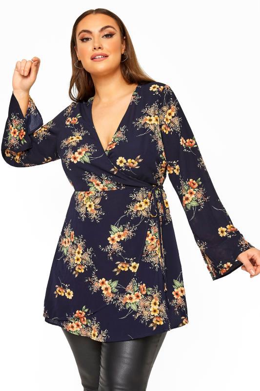 Plus Size  YOURS LONDON Navy Autumn Floral Flute Sleeve Wrap Top