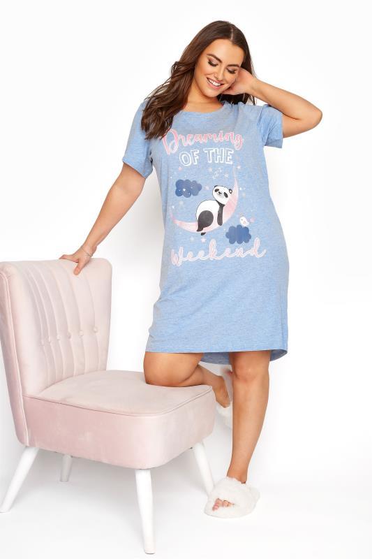 Plus Size  Light Blue Glitter 'Dreaming Of The Weekend' Panda Nightdress