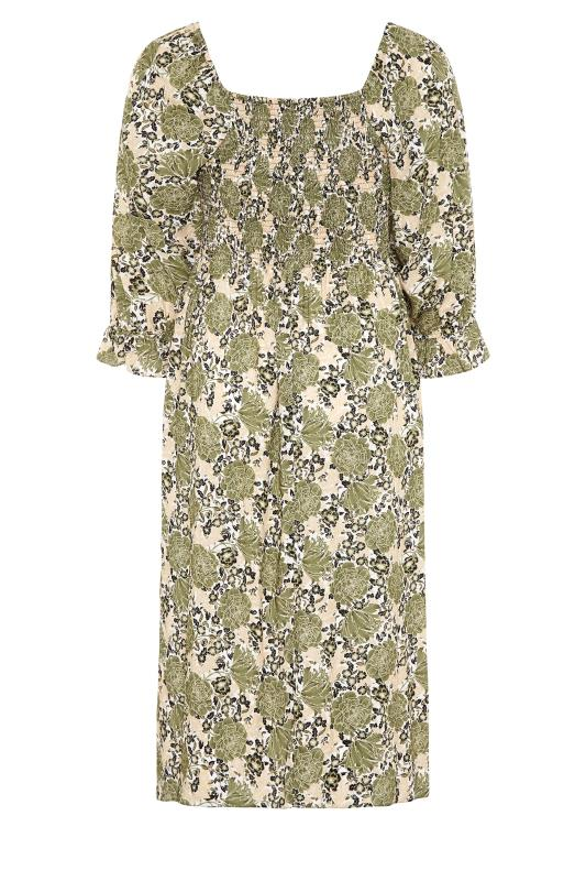 YOURS LONDON Green Shirred Front Floral Midaxi Dress_BK.jpg