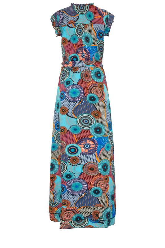 LTS Blue Circle Frill Wrap Maxi Dress_bk.jpg