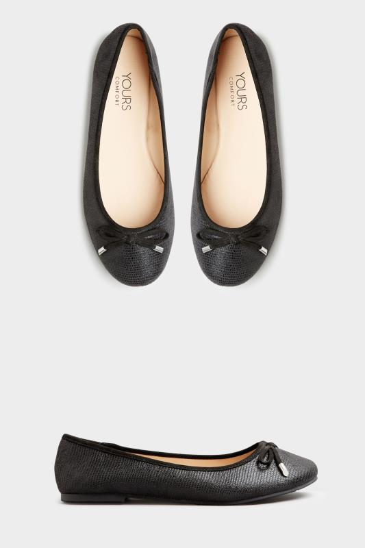 Yours Black Snake Print Ballet Pumps In Extra Wide Fit