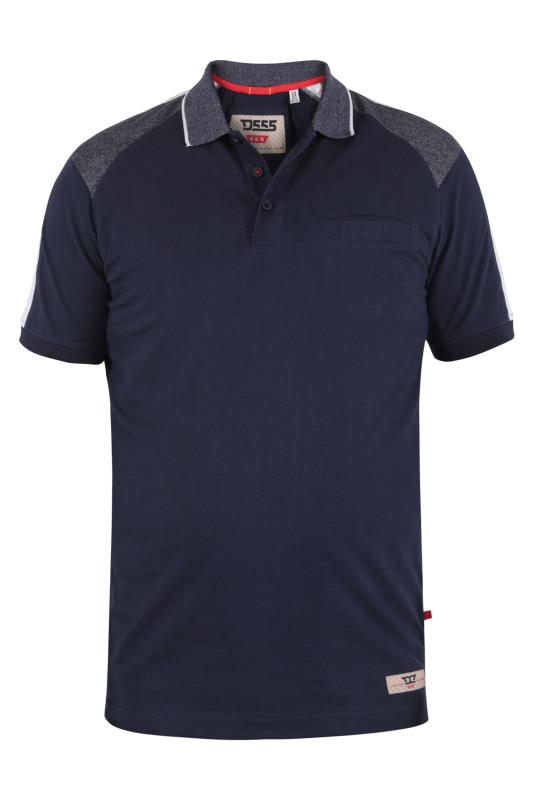 Men's  D555 Navy Cut And Sew Polo Shirt