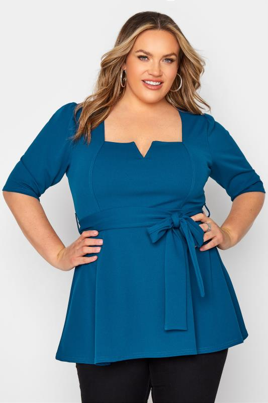Plus Size  YOURS LONDON Teal Blue Notch Neck Belted Peplum Top