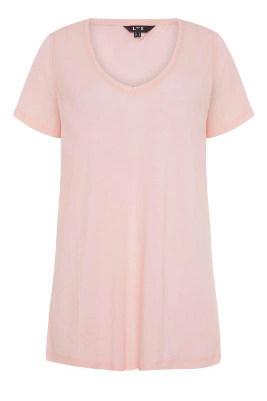 LTS Pink Linen Blend V-Neck T-Shirt_F.jpg