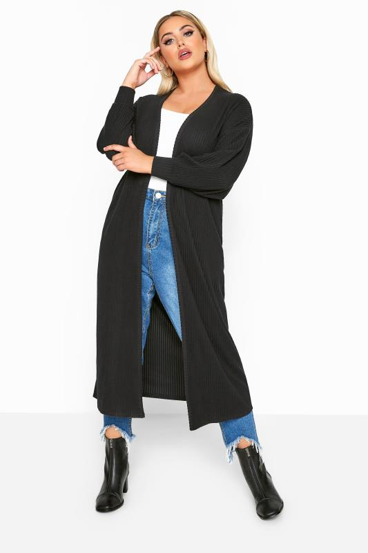 Plus Size Cardigans LIMITED COLLECTION Black Balloon Sleeve Brushed Midi Cardigan