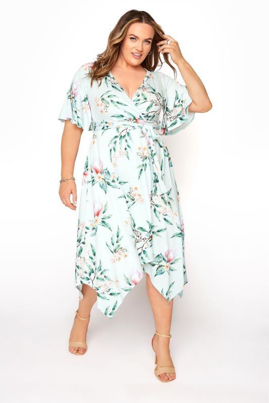 Großen Größen  YOURS LONDON Mint Green Floral Wrap Hanky Hem Dress