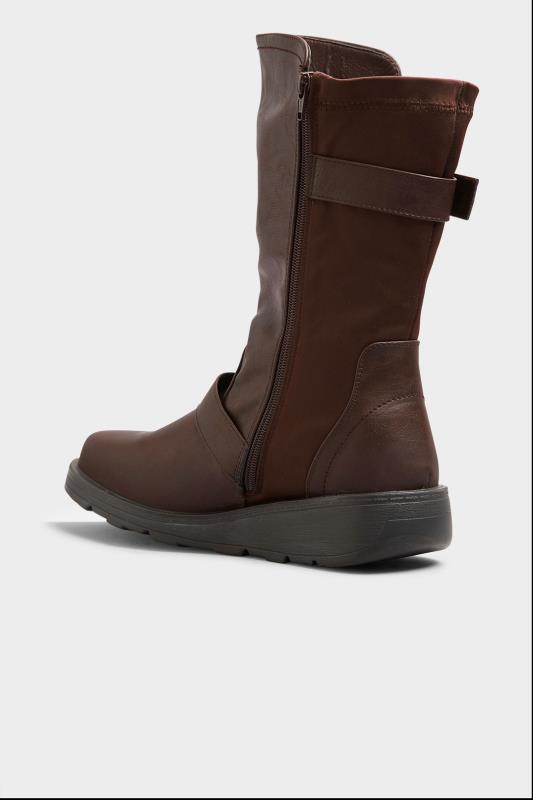 Brown Faux Leather Wedge Buckle Boots In Extra Wide Fit_C.jpg
