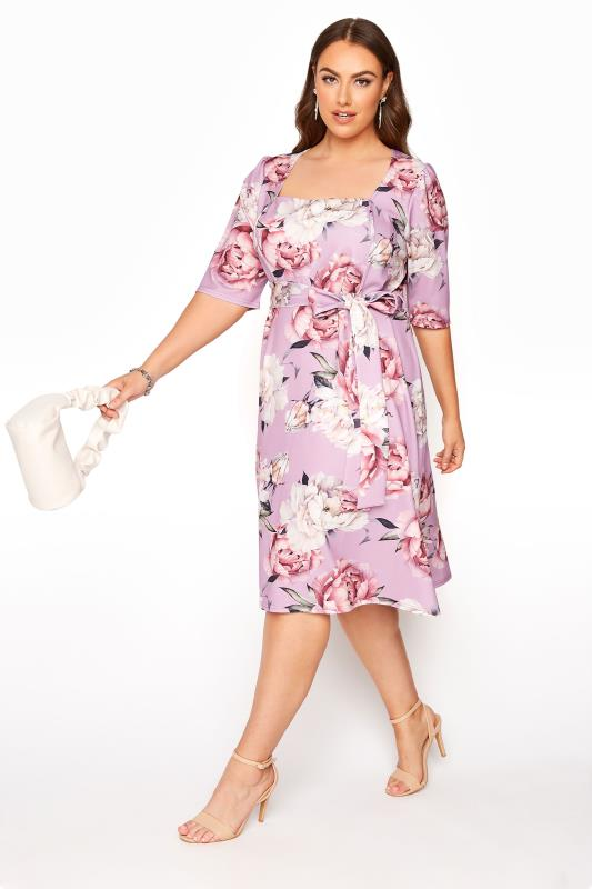 YOURS LONDON Lilac Floral Square Neck Dress_B.jpg
