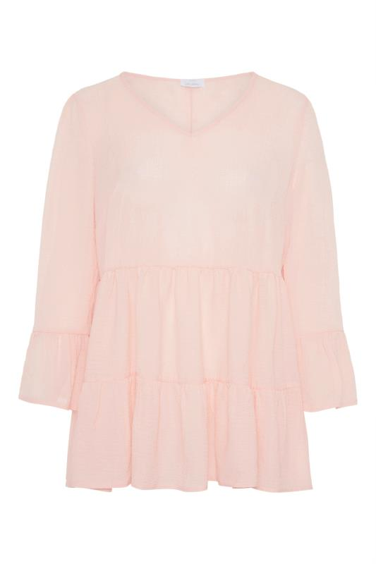 YOURS LONDON Natural Pink Ruffle Sleeve Tiered Smock Top_F.jpg