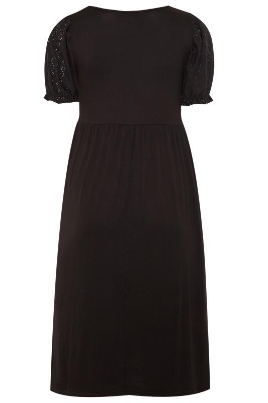 Black Broderie Anglaise Sleeve Dress