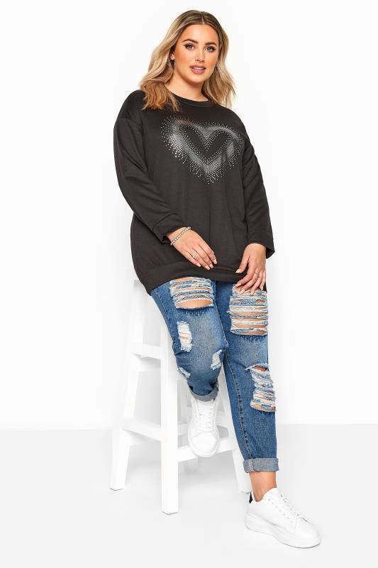 Black Foil Heart Print Sweatshirt
